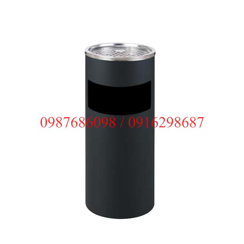 Thùng rác inox tròn có gạt tàn thuốc A35-A đen
