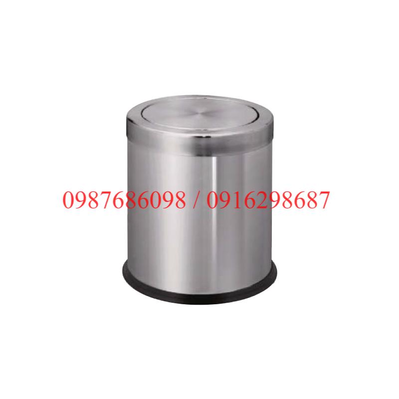 thùng rác nắp lật inox VB-A36H màu trắng