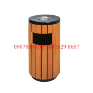 Thùng rác gỗ ngoài trời A78-C hình tròn có gạt tàn thuốc
