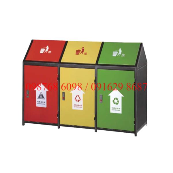 Thùng rác inox 3 ngăn ngoài trời A37-O phân loại rác