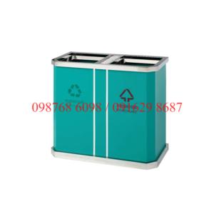 Thùng rác inox 2 ngăn mau xanh
