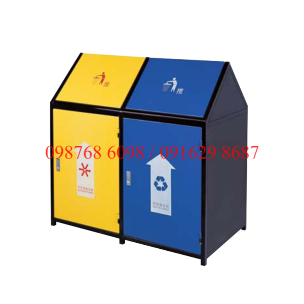 Thùng rác inox ngoài trời A37-O 2 ngăn phân loại rác