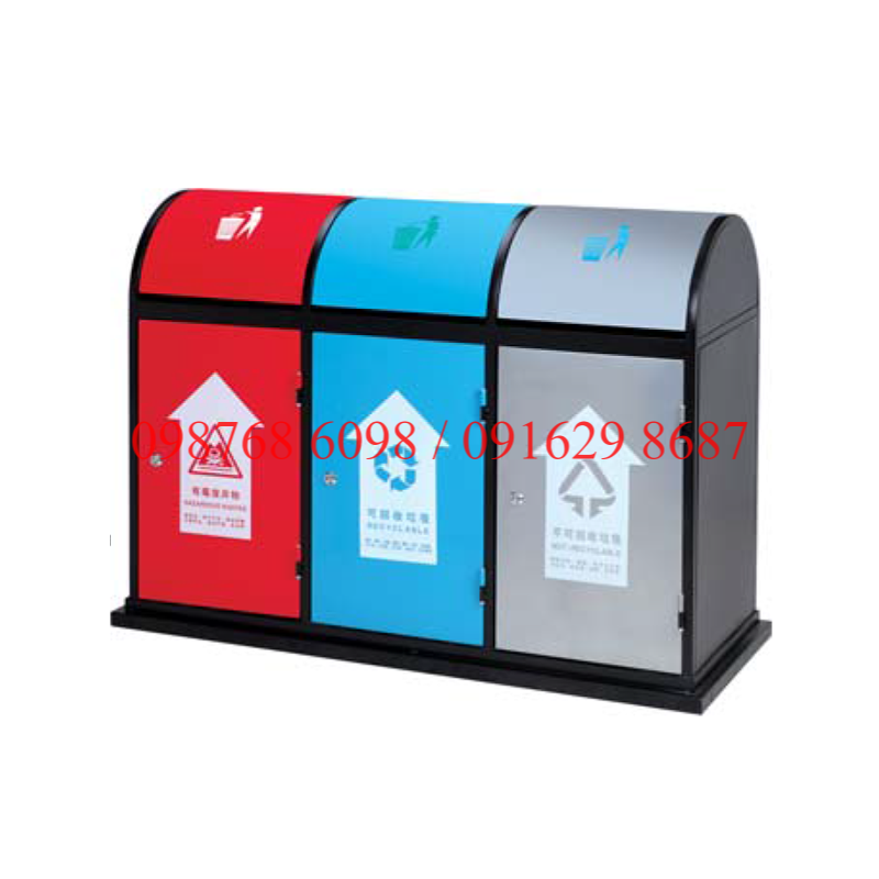 Thùng rác inox ngoài trời A58-O 3 ngăn phân loại rác thải