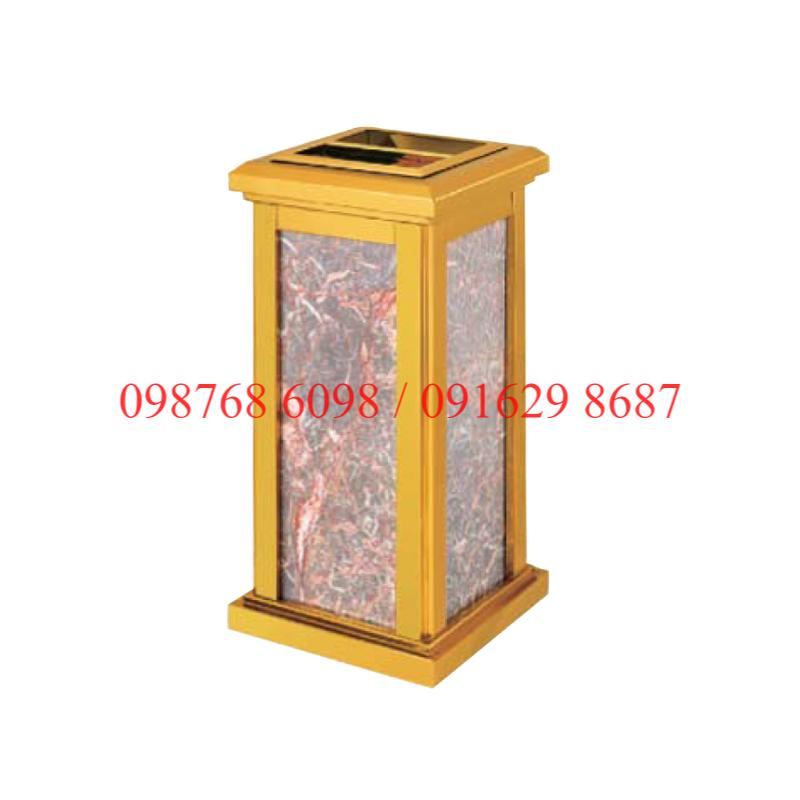 thùng rác inox mạ vàng đá hoa cương A-30A