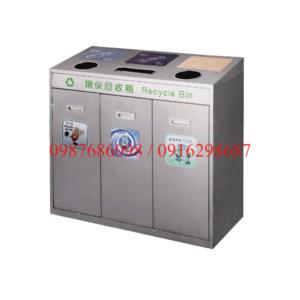 thùng rác inox 3 ngăn phân loại rác thải A37D