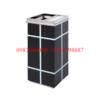 thùng rác inox A69 màu đen nửa gạt tàn nửa bỏ rác