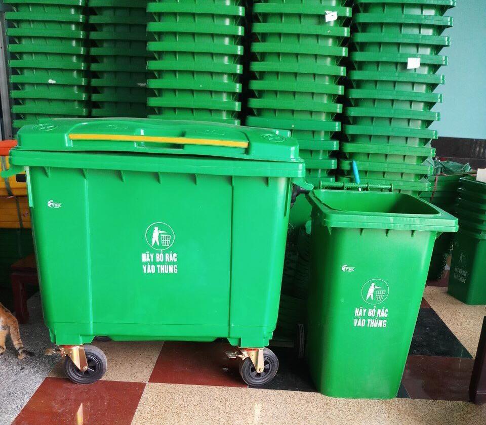 thùng rác nhưa công cộng 660 lit để ngoài trời, chung cư