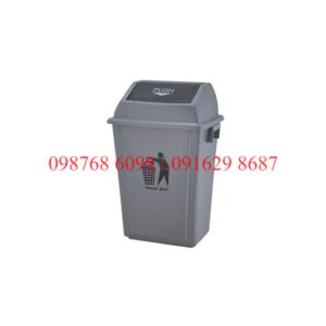 thùng rác nhựa 60 lít nắp bập bênh màu ghi