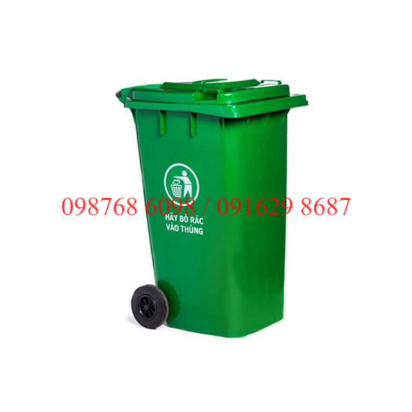 thùng rác nhựa 120 lít màu xanh lá cây