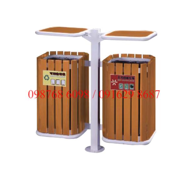 Thùng rác gỗ ngoài trời A78-Q 2 ngăn phân loai rác