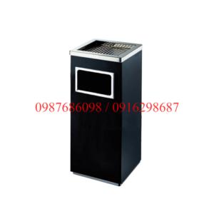 Thùng rác inox gạt tàn vuông A34-B màu đen có gạt tàn thuốc lá giá rẻ